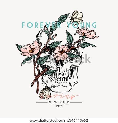 skull with flowers forever