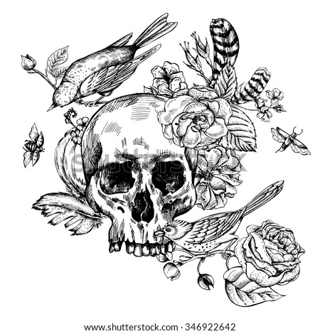 skull with flowers  roses