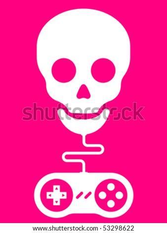Stock Photo Skull with gamepad â?? vector