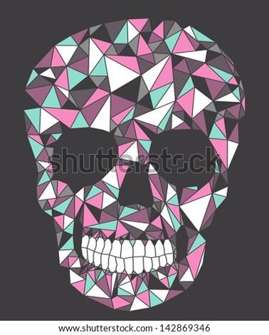 skull with geometric pattern