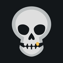 Skull with golden tooth on black background. Jolly Roger