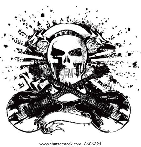 skull with guitars rock emblem - stock vector