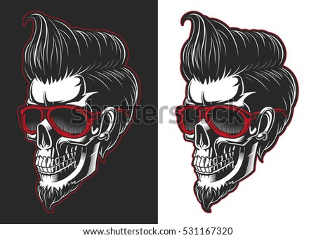 skull with hair and beard