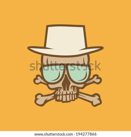 Skull with hat and sunglasses and crossbones