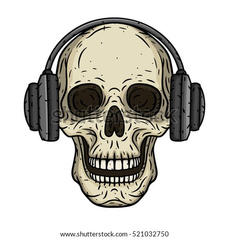 skull with headphones cartoon