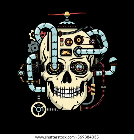 skull with implanted steampunk