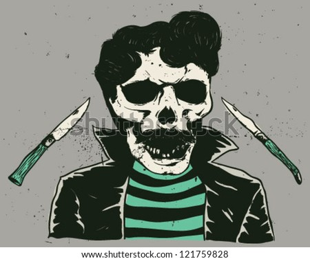 skull with knives