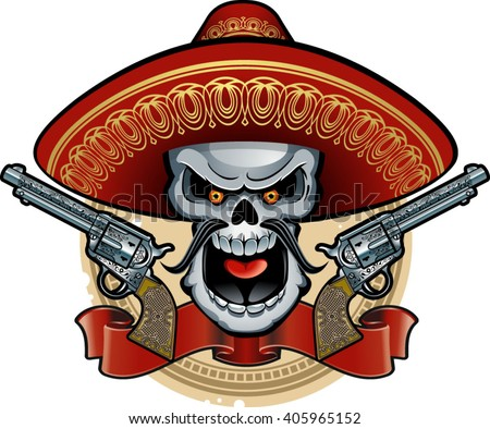 skull with mexican sombrero and