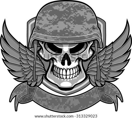 skull with military helmet