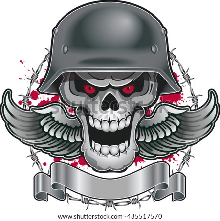 skull with military helmet
