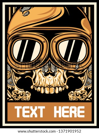 skull with motorcycle goggles vector