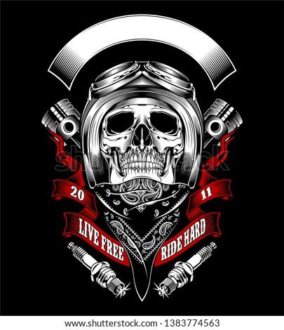 Skull with motorcycle helmet and bandana - Vector