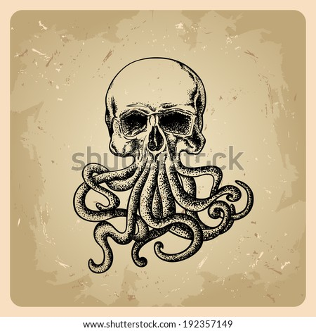 skull with octopus in a tattoo