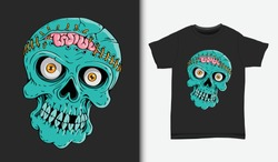 Skull with opened brain illustration, with t-shirt design, Hand drawn