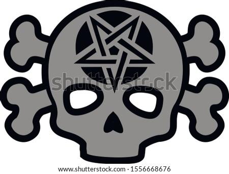 skull with pentagram, grunge vintage design t shirts