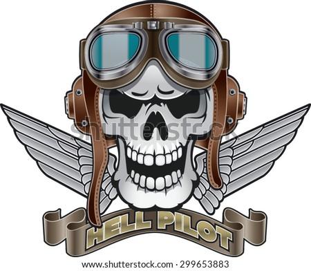skull with pilot helmet  wings