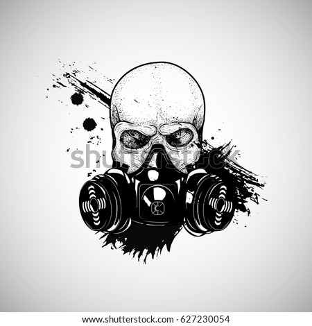 skull with respirator  gas mask