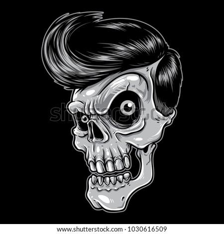 skull with rockabilly hair