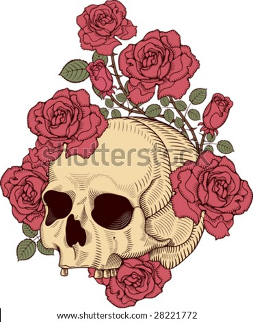 stock vector : skull with roses