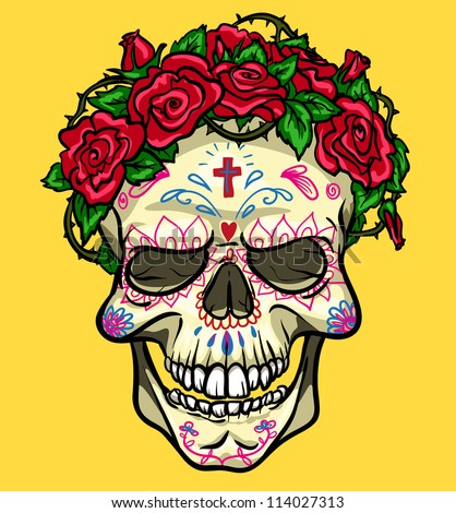 Skull with roses, Day of the Dead, sugar skull