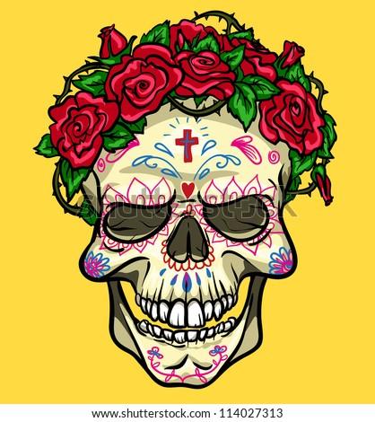 Skull with roses, Day of the Dead, sugar skull
