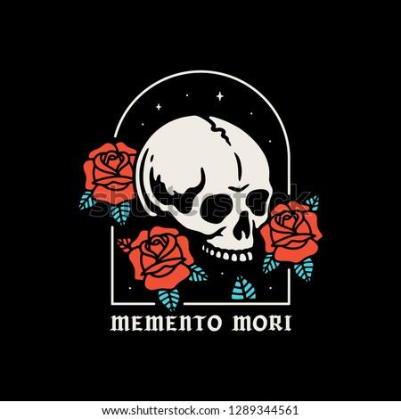 skull with roses memento mori