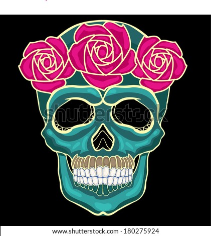skull with roses on day of the