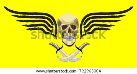 skull with sabers and two black