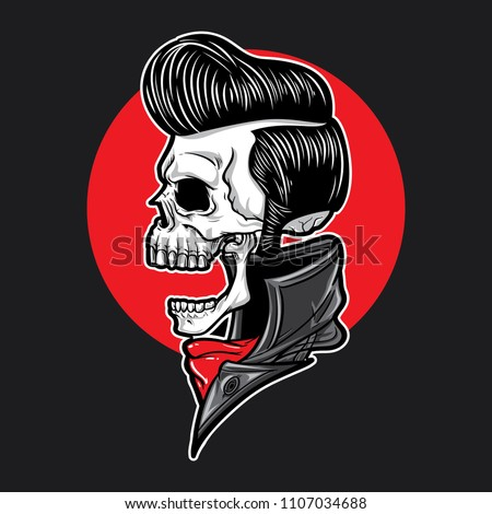 Skull with slick hair side view ストックフォト ©