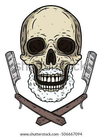 skull with two shaving blades