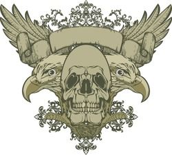 Skull with wings and double-headed eagle, hand-drawing. Vector illustration