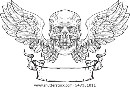 skull with wings and ribbon in