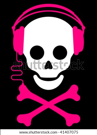 skull with with headphones and