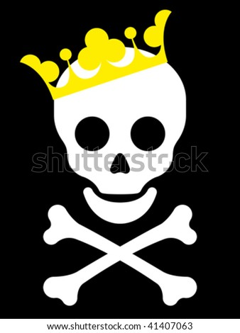 Skull with yellow crown - vector - stock vector