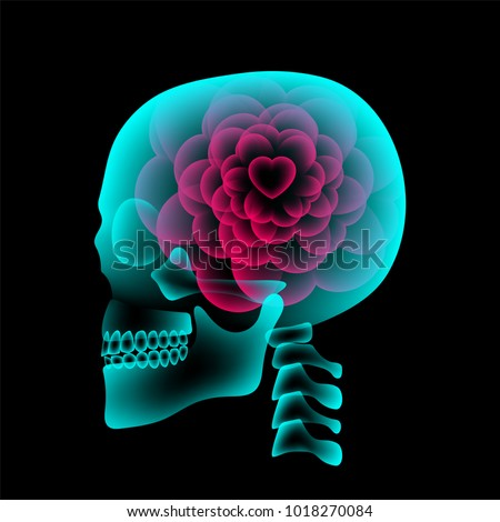 skull x ray with heart flower