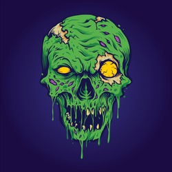 Skull Zombie isolated Illustrations for merchandise clothing line, t-shirts, sticker and poster publications