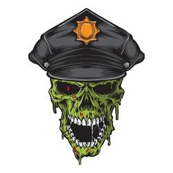 skull zombie wearing police hat vector