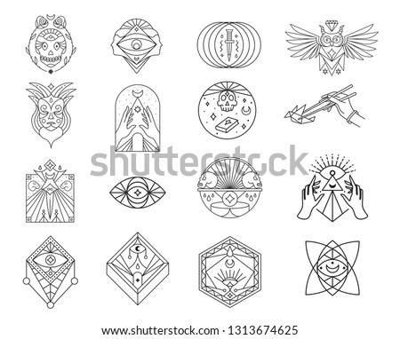 Skulls, occult, owl, eye, mask, dagger line icon set. Symbols collection, geometric labels and badges, logo illustrations, scary signs linear pictograms isolated on white background. #1313674625
