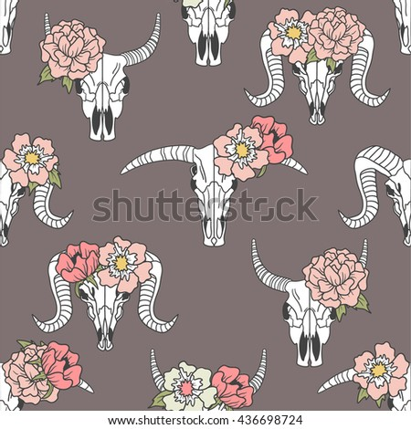 skulls of animals and flowers