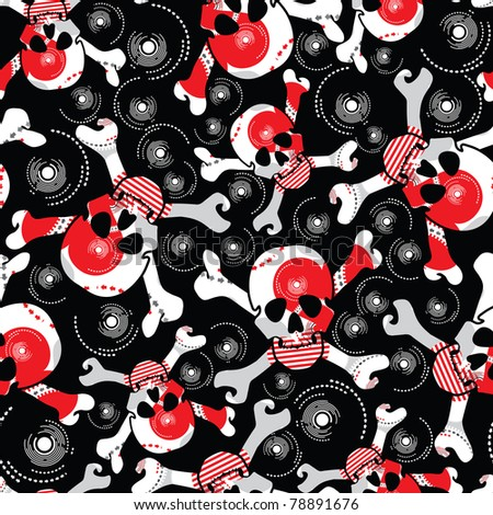 skulls on black background
