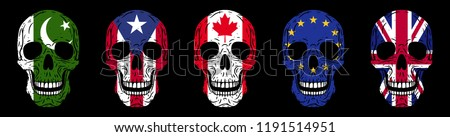 Skulls set. Humans skulls with flags isolated on black background Foto stock ©