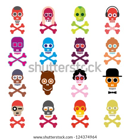 Skulls - set of isolated vector icons on white background