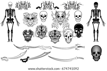 skulls skeletons swords tattoo