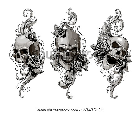 Skulls with floral patterns vector set. Vector illustration.