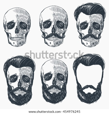 Set Of Human Skull Bones With Sunglasses Beard Moustache Smoking Pipe Sketch Vector Illustration Isolated On White Background