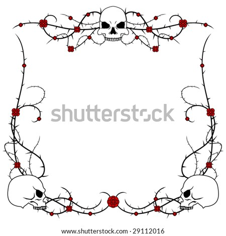 stock vector Skulls with rose and thorn bramble vector border design