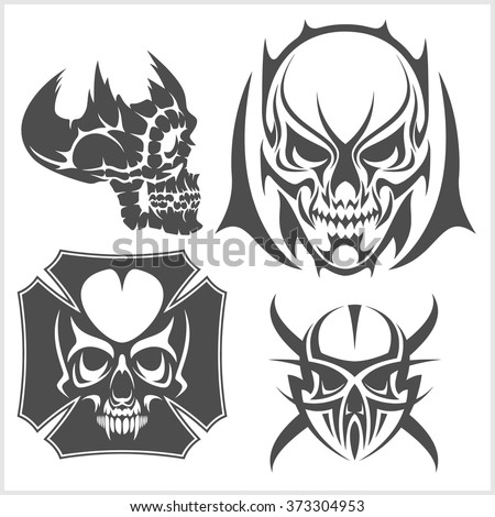 skulls with tribal elements