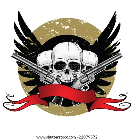 skulls and guns. stock vector : Skulls with