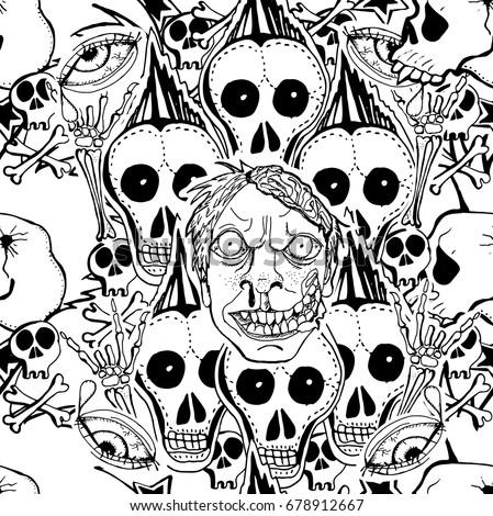 skulls  zombie vector seamless
