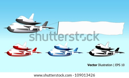 Sky advertising, shuttle carrier aircraft with blank banner, different colors, vector illustration